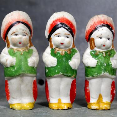 Unique Set of 3 Identical Vintage Bisque Penny Dolls from the 1930s - Frozen Charlotte - Bisque Dolls - Triplets | FREE SHIPPING by Bixley