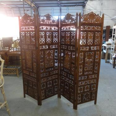 4 Panel Carved Screen Room Divider