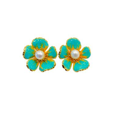 The Pink Reef turquoise gloss hand painted florals