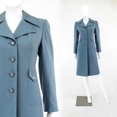 1970s Cornflower Blue Coat - 1970s Blue Coat - Vintage Blue Coat - 1970s Womens Coat - Pale Blue Coat - Spring Coat - 70s Coat  | Size Small by VeraciousVintageCo