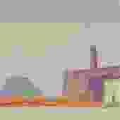 Small Mid Century Cityscape Gouache Painting