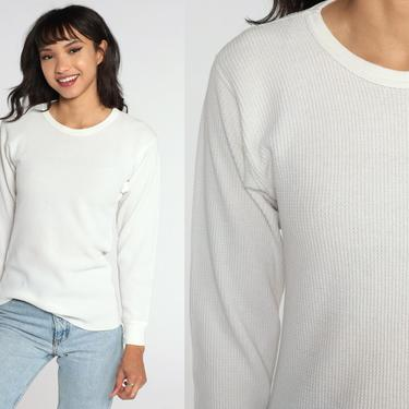 White Thermal Shirt 80s Long Sleeve Undershirt WAFFLE KNIT Shirt 1980s Under Shirt T Shirt Underwear Retro Tee Layer Vintage Medium Large by ShopExile
