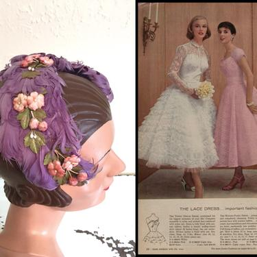 Did You See the Groomsmen - Vintage 1940s 1950s Lilac Lavender Curled Feather & Floral Cookie Cutter Hat Fascinator by RoadsLessTravelled2