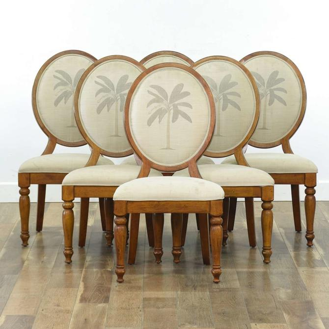 Set Of 6 Carved Dining Chairs W Banana Tree Motif Back