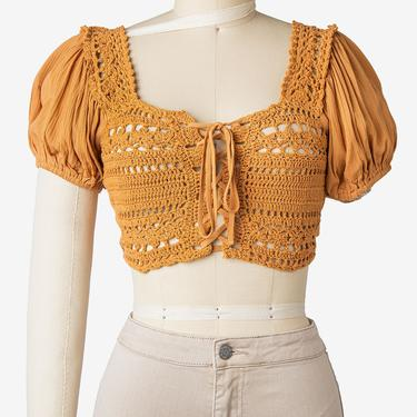 Crochet Puff Sleeve Peasant Crop Top (2 Colors Available)