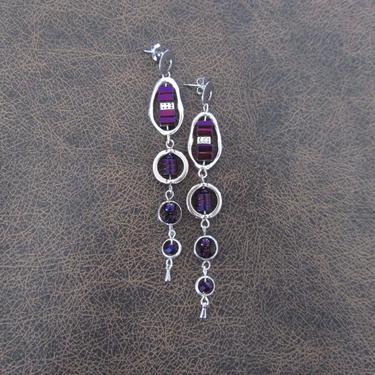 Long geometric earrings, brutalist earrings, mid century modern earrings bold statement, purple hematite, chic silver dangle earrings by Afrocasian