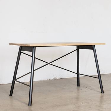 Intersecting Steel Desk - Ash + Natural Steel by HerbsFurniture