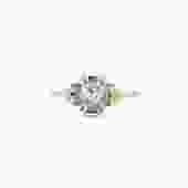 Bella Salt & Pepper Rose Cut Oval Diamond Cluster Engagement Ring