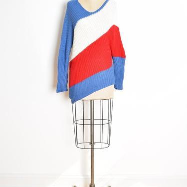 26024ff7608 vintage 80s sweater red white blue asymmetrical dolman off shoulder ...