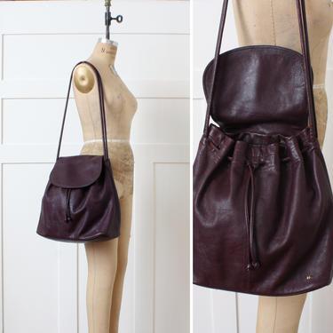 vintage oversized leather shoulder bag • dark burgundy red drawstring sack purse by LivingThreadsVintage