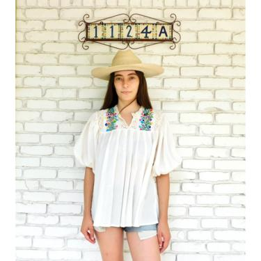 Oaxacan Crochet Blouse // vintage cotton boho hippie Mexican hand embroidered dress hippy tunic mini dress off white poet sleeves 70s // O/S by FenixVintage