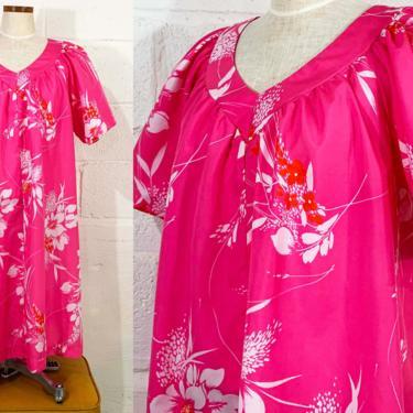 Vintage Hawaiian Muumuu Dress Tiki Floral Midi Bright Pink Pajamas Flutter Sleeves Hawaii USA Luau Short Sleeve Large XL XXL by CheckEngineVintage