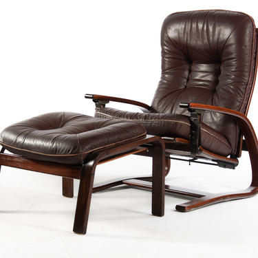 Westnofa Bentwood Lounge Chair in Distressed Leather and Rosewood With Complimentary Ottoman by ABTModern