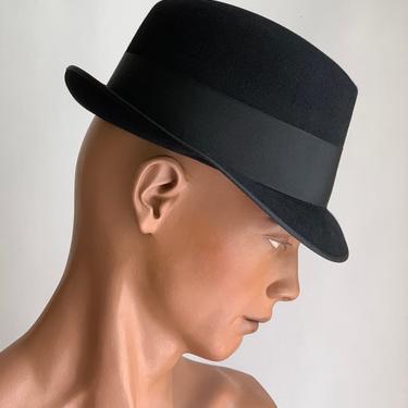 "Vintage 1950'S Frank Sinatra Black Felt Fedora - by ""TOWNCRAFT"" - XXX Quality - Tighter Brim - Size 7-1/8 Long Oval by GabrielasVintage"