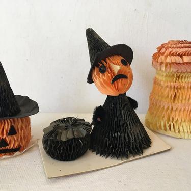 "Mini Honeycomb Tissue Witch, Jack O Lantern, Pumpkin And Haystack, Vintage Halloween Decoration Figures Around 2.5"" tall by luckduck"