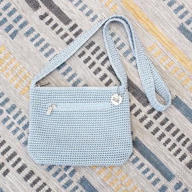 Vintage Early 2000s Y2K The Sak Crochet Crossbody Bag - Pastel Blue Boho Purse by SecondShiftVintage
