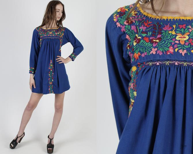 Long Sleeve Oaxacan Dress / Royal Blue Cotton Mexican Dress / Womens Hand Embroidered Traditional Dress / Made In Mexico Mini Dress by americanarchive