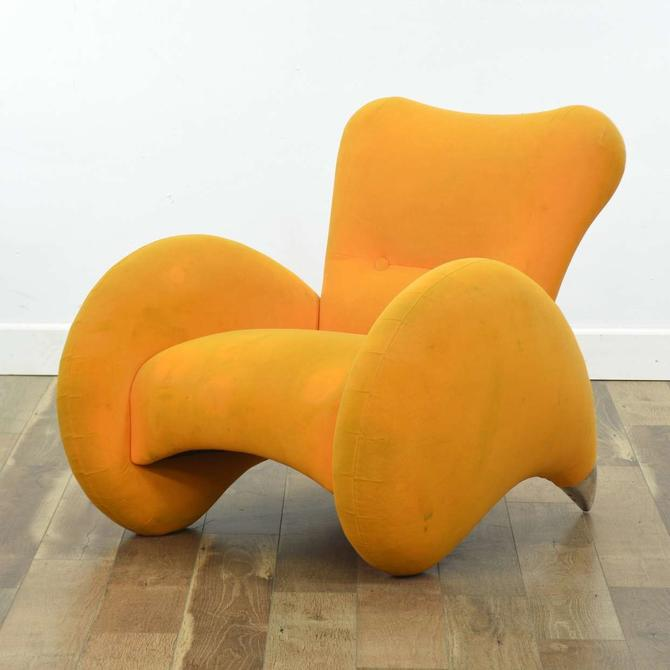 Art Deco Orange Curved Upholstered Armchair