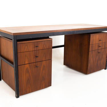 Milo Baughman For Directional Mid Century Parsons Writing Desk with Modular File Cabinets - mcm by ModernHill