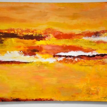 Dottie Katz Yellow Abstract Painting by mixedmodern1