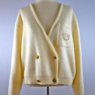 Ivory and Gold Collegiate Blazer Cardigan Sweater by citybone