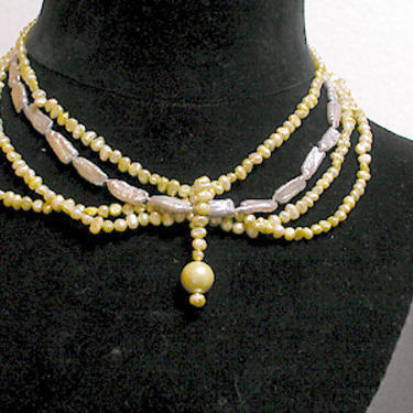 Shanghai Necklace Cafe Society Collection:   Soft Green and Silver Pearls by CafeSocietyStore