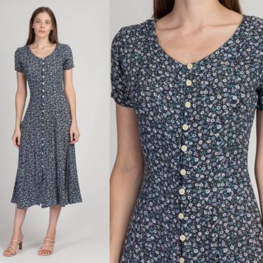 90s Blue Floral Midi Grunge Dress - Extra Small | Vintage Short Sleeve Button Front Boho Sundress by FlyingAppleVintage