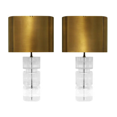 Karl Springer Exceptional Pair of Lucite Table Lamps with Bronze Shades 1980s (Signed)