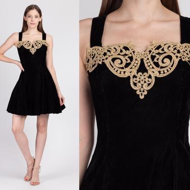 80s Scott McClintock Black Velvet Fit & Flare Party Dress - Extra Small   Vintage Metallic Gold Trim Sleeveless Mini by FlyingAppleVintage