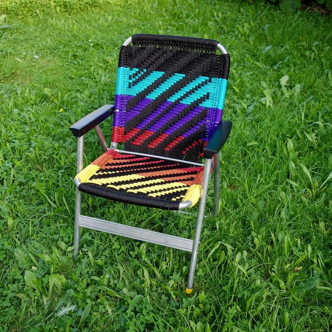Macrame Lawn Chair, Handmade Neon Stripe Glamping Unique Outdoor Furniture 70s 80s Decor Vintage Patio Aluminum Folding Chair forest fathers by forestfathers