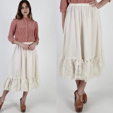 Gunne Sax Solid Cream Skirt / Lace Panel Trim Gunnies Skirt / Plain Womens Elastic Waist Prairie Skirt / Hippie Vintage 70s Folk Midi Maxi by americanarchive