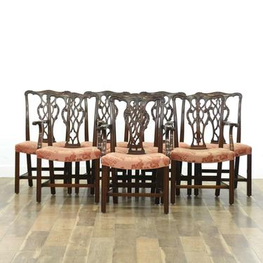 Set 8 Chippendale Carved Solid Mahogany Dining Chairs