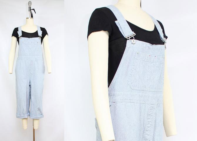 Vintage 90's Blue and White Pinstriped Linen Blend Striped Overalls / 1990's Linen Cotton Overalls Railroad / Women's Size Medium Large XL by RubyThreadsVintage