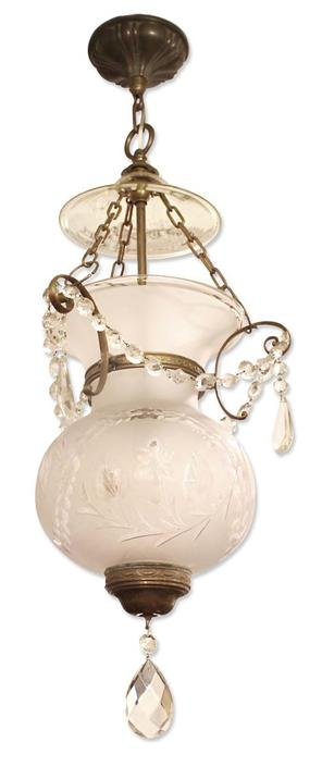 1930s Traditional Etched Glass & Crystal Bell Jar Lantern