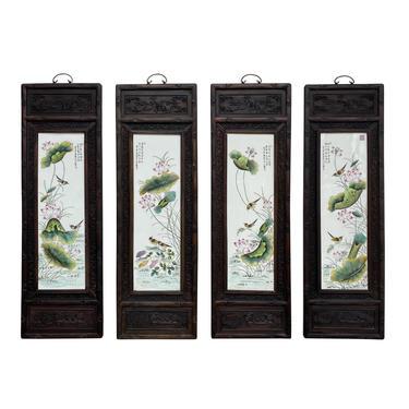 Chinese Color Porcelain Flower Birds Wood Wall Panels 4 Pieces Set cs6072E by GoldenLotusAntiques