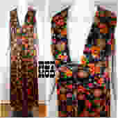 Vintage 70s Vest Dress with a Deep V - Black with Orange, Red and Green Floral Pattern by RETMOD