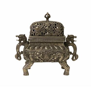 Chinese Silver Color Rectangular Dragon Theme Incense Burner Display ws1599E by GoldenLotusAntiques
