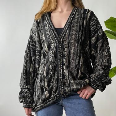 Vintage Black and Grey Coogi Style Cardigan Sweater, Large by Northforkvintageshop