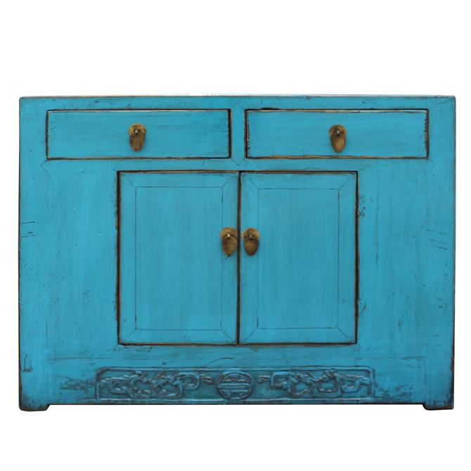 Chinese Distressed Rustic Bright Turquoise Blue Foyer Console Table Cabinet cs5007S