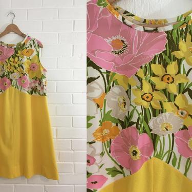 Vintage Floral Shift Dress 60s Mod Pink White Yellow 1960s Mini Dress Mod Twiggy Sleeveless Flutterbye Women's Plus Size XL XXL Curvy Volup by CheckEngineVintage
