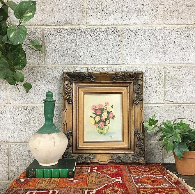 Vintage Floral Painting 1971 Retro Size 16x18 Flowers in a Vase with Ornate Brown Wood Carved Frame On Canvas Original Signed Wall Art by RetrospectVintage215