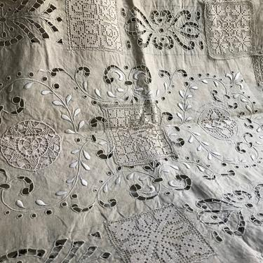 French Linen Embroidery Project Panel, Filet Lace, Hand Worked, Unfinished Tablecloth, Historical Piece for Project or Study by JansVintageStuff