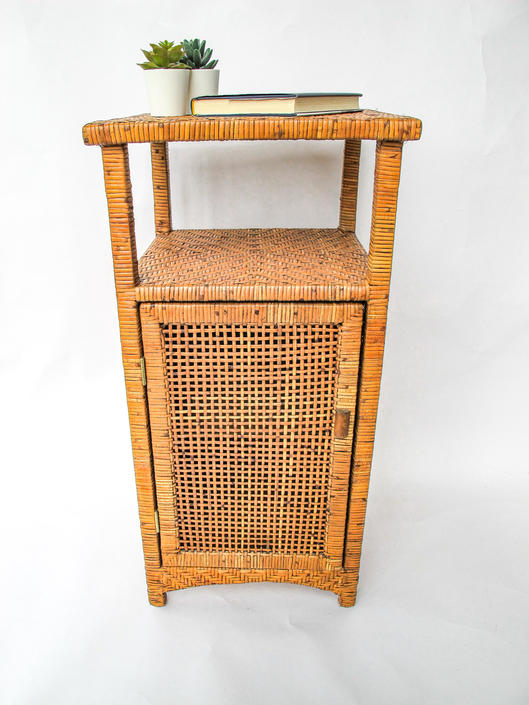 Vintage Wicker Rattan Woven Bohemian Side Table with Cabinet and Shelf by PortlandRevibe