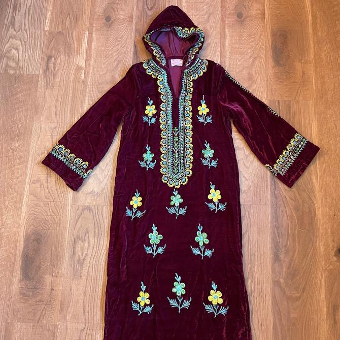 1960s Embroidered Velvet Kaftan Maxi Dress by LoveItShop