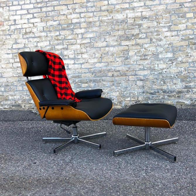 Eames Style Chair + Ottoman Set