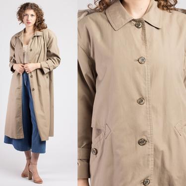 Vintage Misty Harbor Trench Coat - Large   80s Minimalist Long Sleeve Button Up Women's Jacket by FlyingAppleVintage