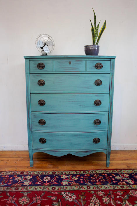 Refurbished Vintage Highboy Dresser, Antique Green Teal Turquoise Dresser, Distressed Shabby Chic Chest of Drawers Free NYC Delivery by AntiqueBoutiqueNYC