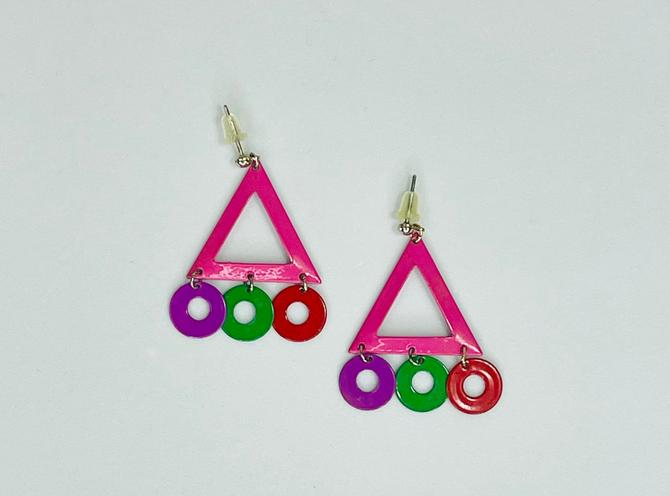 Vintage 1980s Pink Purple Red and Green Geometric Earrings by timelesspieces