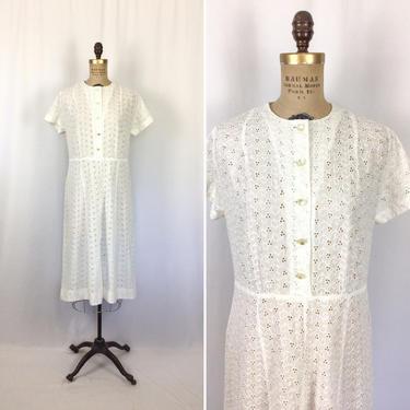 Vintage 50s dress | Vintage white eyelet short sleeve say dress | 1950s  Claire Tiffany shirtwaist dress by BeeandMason