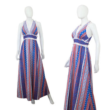 1970s Red White & Blue Maxi Dress - 1970s Liberty House Hawaiian Maxi - Red White and Blue Hawaiian Dress - 70s Maxi Dress | Size Small by VeraciousVintageCo